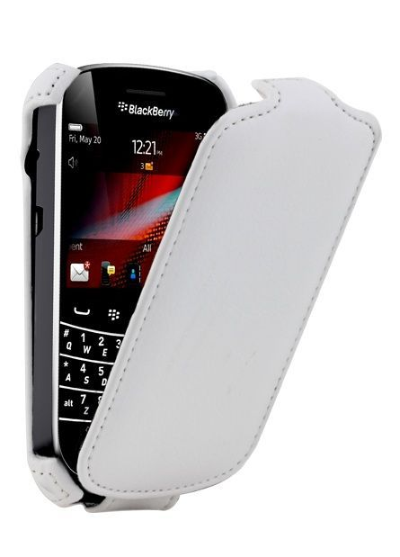 Etui coque blanc cuir BlackBerry BOLD TOUCH 9900/9930