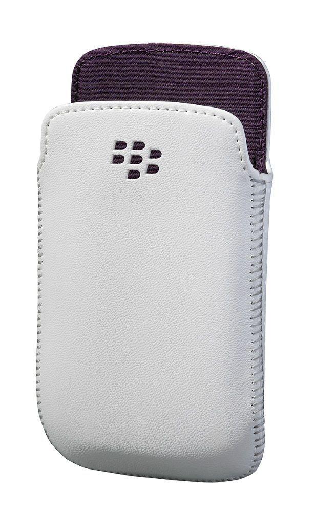 Etui cuir Blanc / Violet Blackberry 9790 Bold