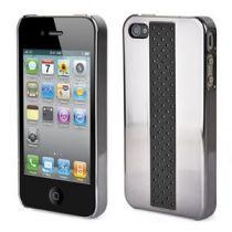 MUVIT - Coque miroir noire cuir perforé pour iphone 4/4s