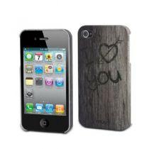 MUVIT - Coque rigide Effet bois I Love You pour iPhone 4/4S