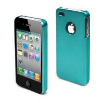 MUVIT - Coque rigide rubber metal turquoise pour iphone 4/4s
