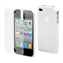 MUVIT - Coque rigide sport back blanche perforee pour iPhone 4/4S