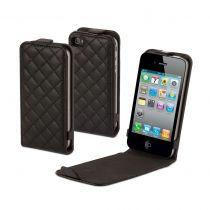 MUVIT - Housse clapet slim matelasse noire pour iPhone 4/4S