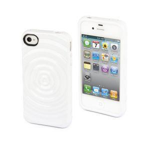 MUVIT - Housse silicone Blanc opaque effet goutte d\'eau pour iPhone 4/4S