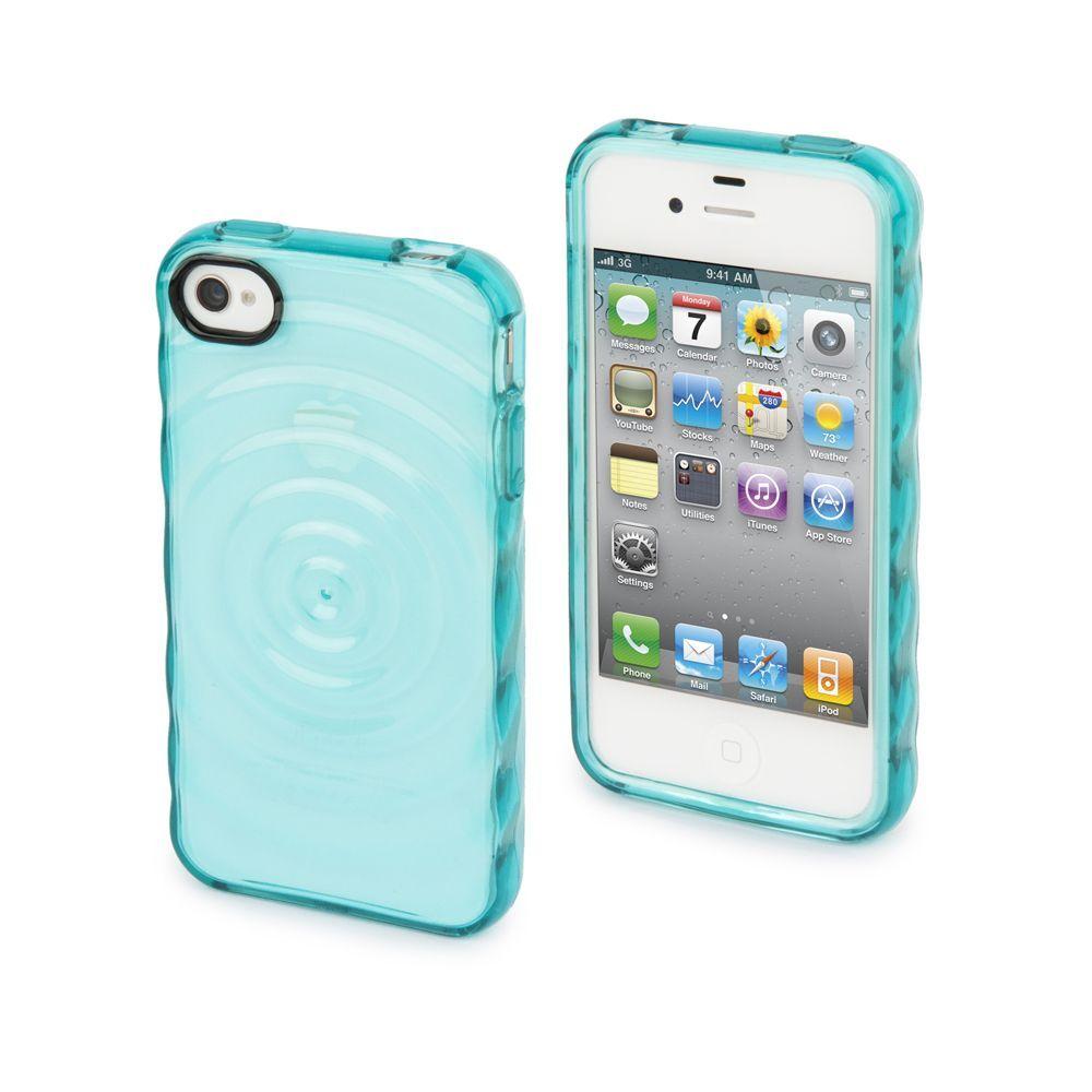 Muvit housse silicone bleu turquoise effet goutte d 39 eau for Housse iphone 4s