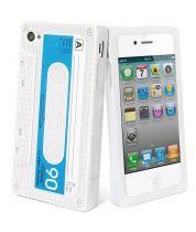Muvit coque silicone retro cassette blanc iPhone 4/4 s