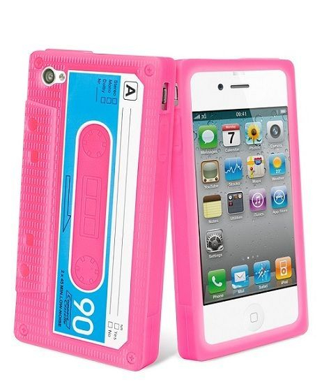 Muvit coque silicone retro cassette rose iPhone 4/4 s