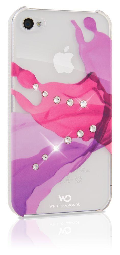 SWAROVSKI - Coque White Diam\'s liquids rose crsytal pour iphone 4/4s
